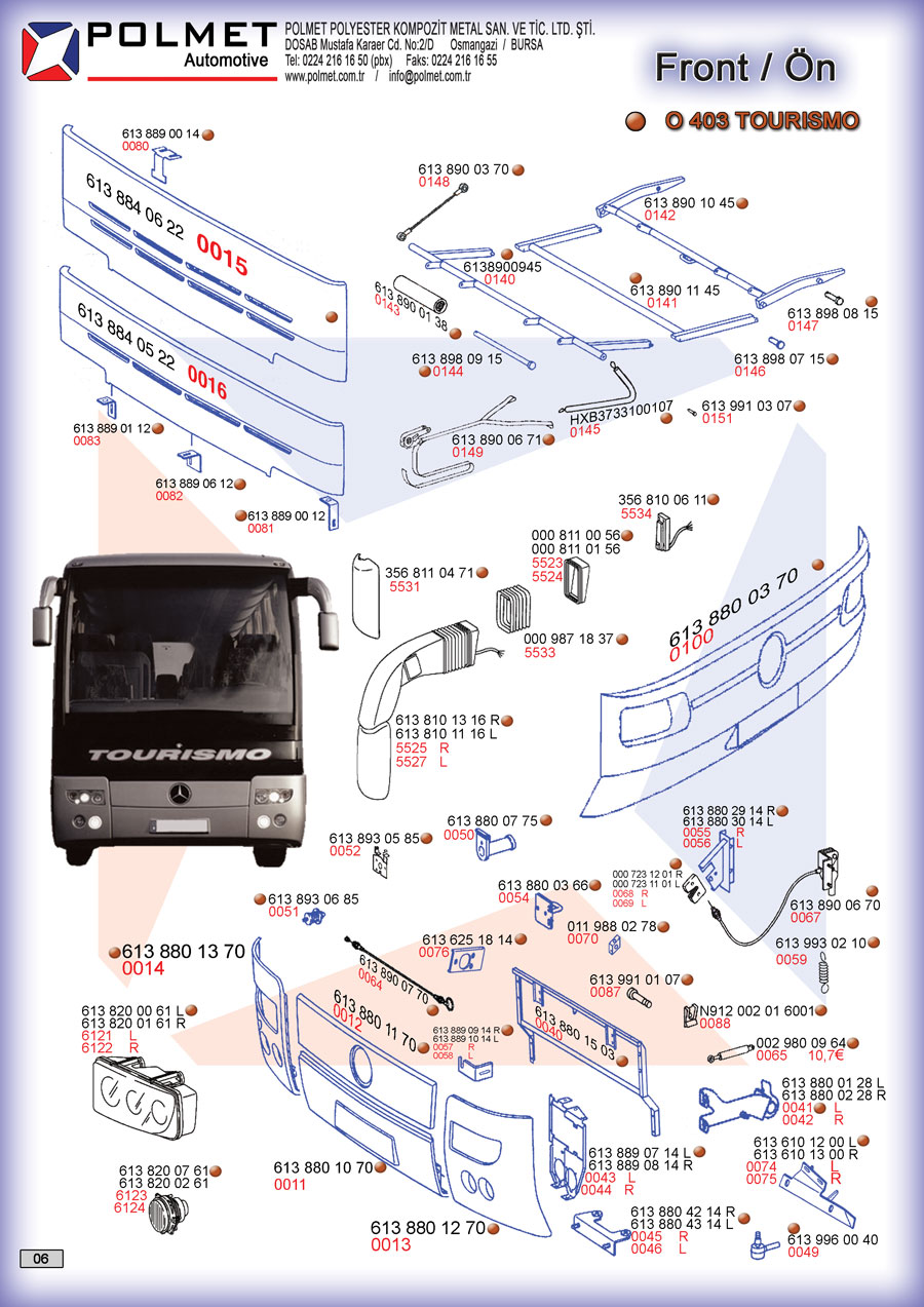 O 403 Tourismo buses, front suspension, spare parts spare parts catalog page