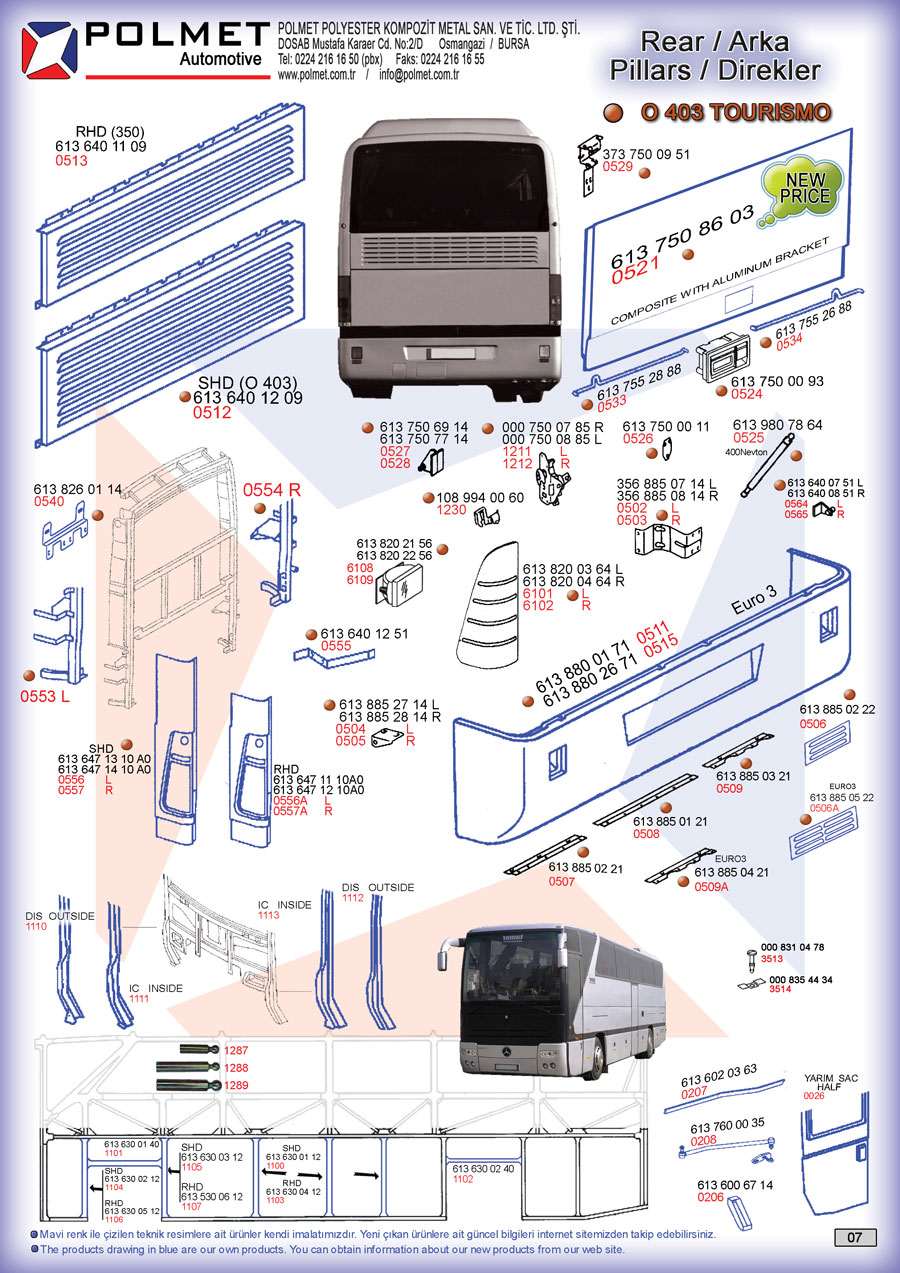 O 403 Tourismo buses back the team, spare parts spare parts catalog page