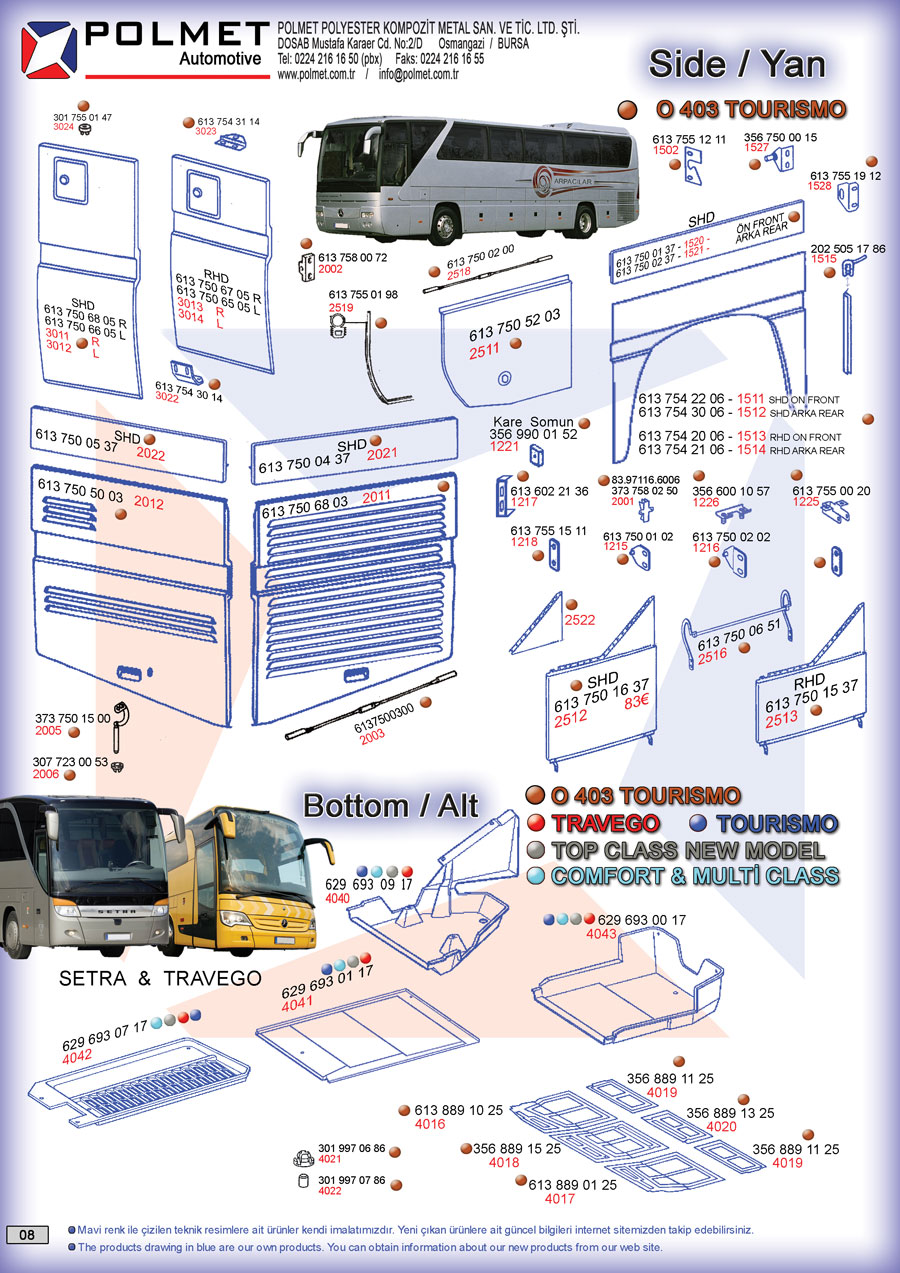 O 403 Tourismo buses, side and bottom tooling, spare parts spare parts catalog page