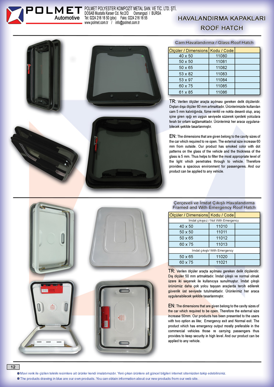 Vent covers commercial vehicles, Roof Hatch, Framed ventilation cover, Framed roof hatch, glass roof hatch, ventilation cover hair, hair with emergency roof hatch.