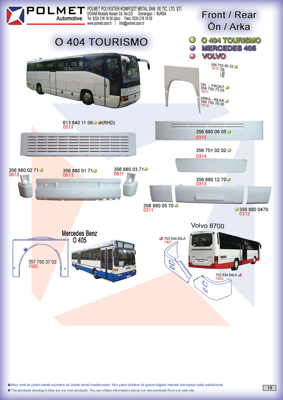 O 404 Tourismo, and Neoplan buses spare parts catalog page