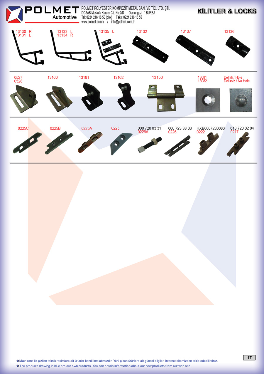 Commercial vehicle door lock mechanisms and bracket spare parts catalog page