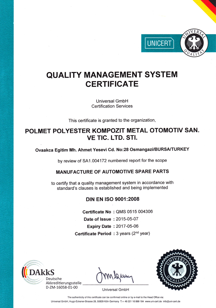 POLMET AUTOMOTIVE OUR QUALITY CERTİFİCATE - DIN EN ISO 9001:2008