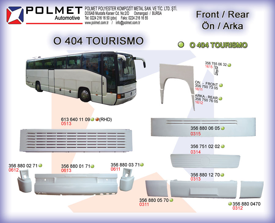 O 404 Tourismo buses, aftermarket spare parts catalog page